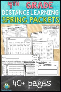 4TH GRADE DISTANCE LEARNING pACKET