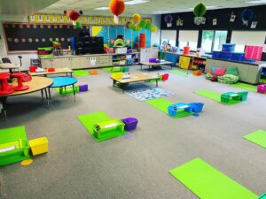 Classroom Design ideas with Yoga Mats for Social Distancing